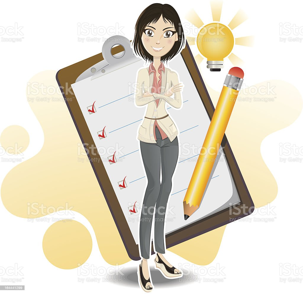 smart business woman done with her checklist royalty-free stock vector art