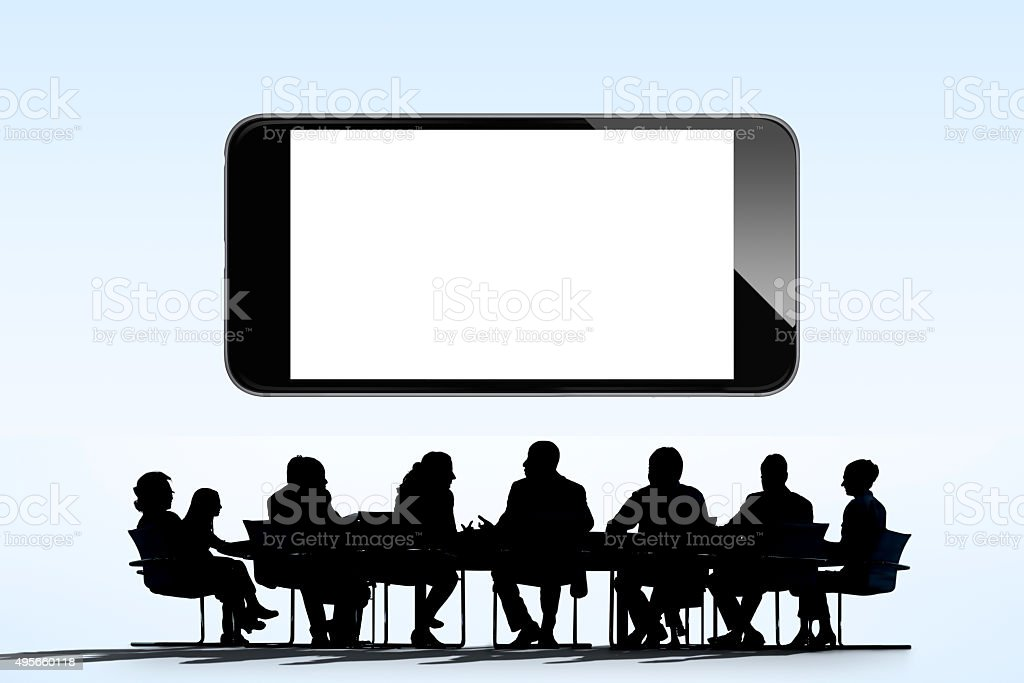 Smart phone - Business meeting silhouette vector art illustration