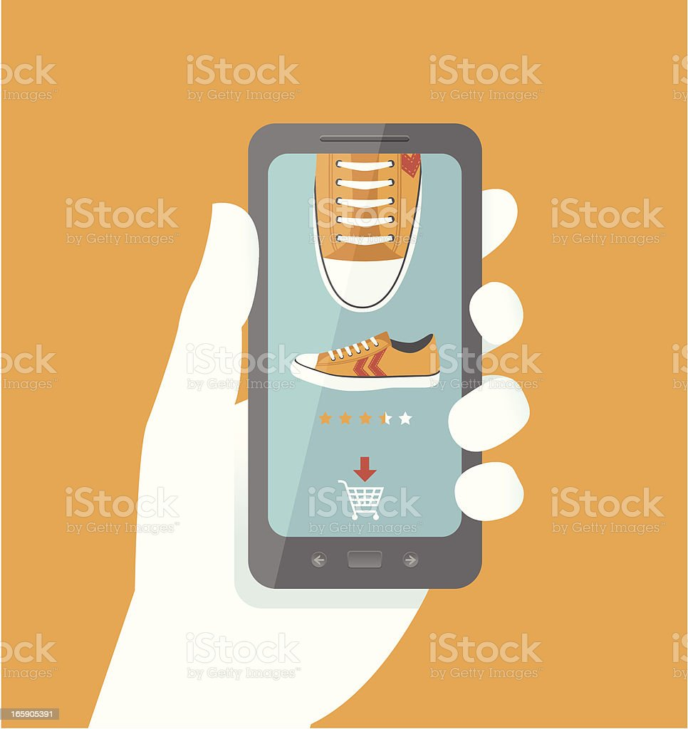 Smart Phone Online Shopping royalty-free stock vector art