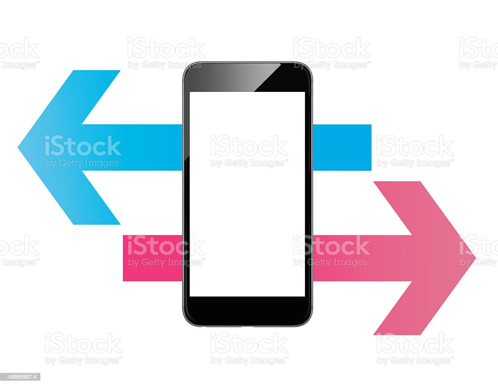 Smart phone touch - scroll arrow vector art illustration