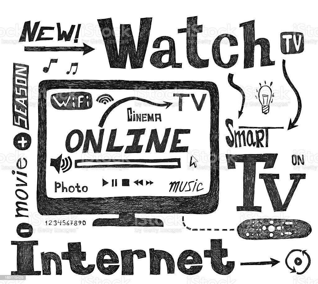 Smart TV scrawl royalty-free stock vector art