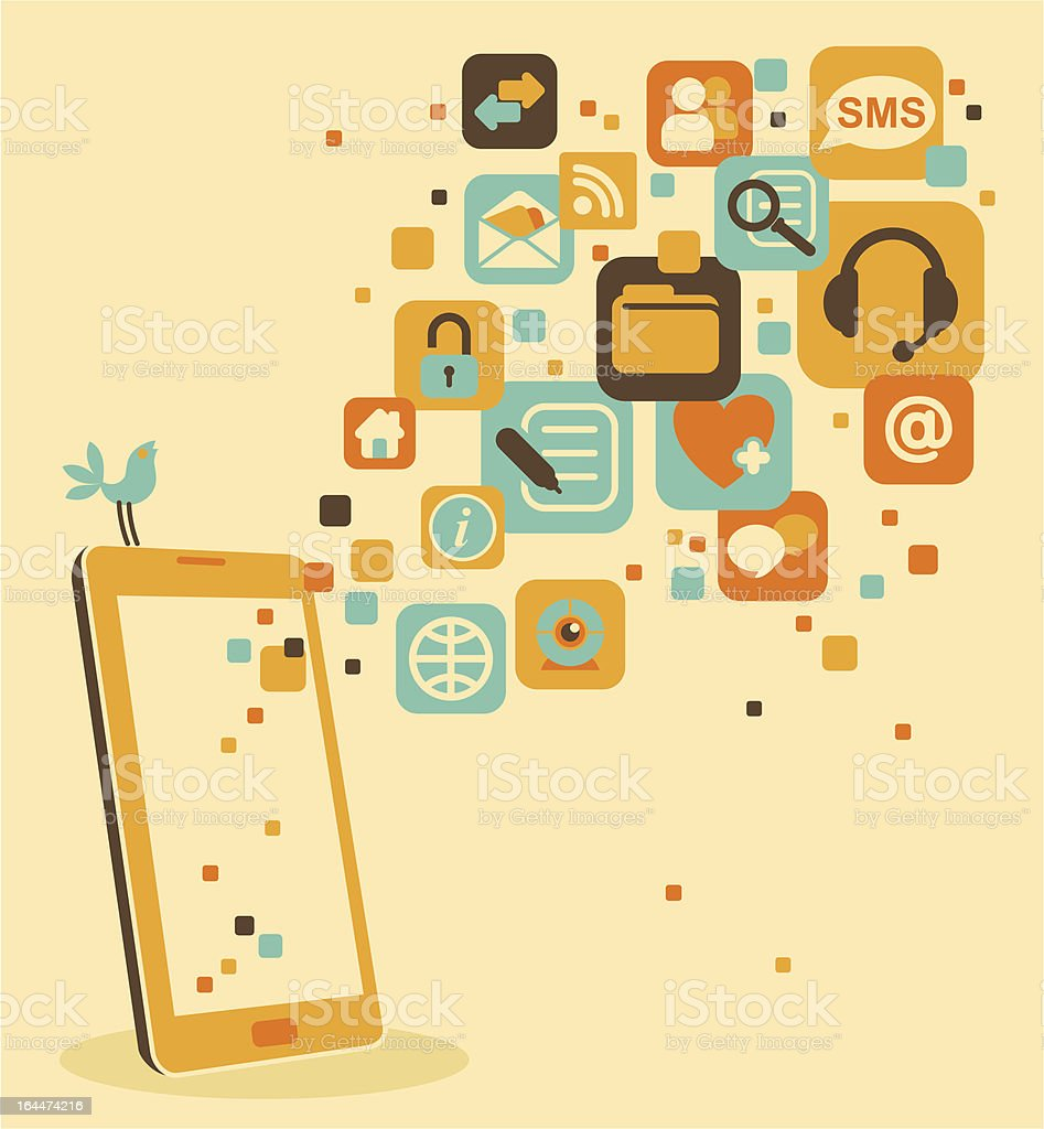 Smartphone and social, media, web icons royalty-free stock vector art
