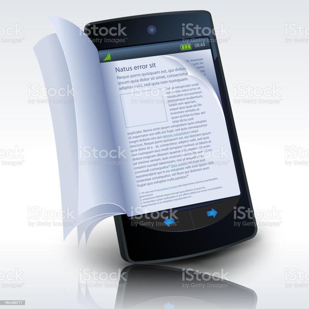 Smartphone E-Book royalty-free stock vector art