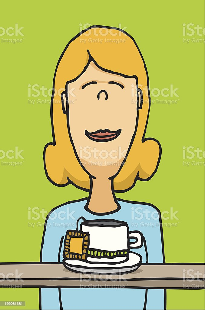 Smelling tea vector art illustration