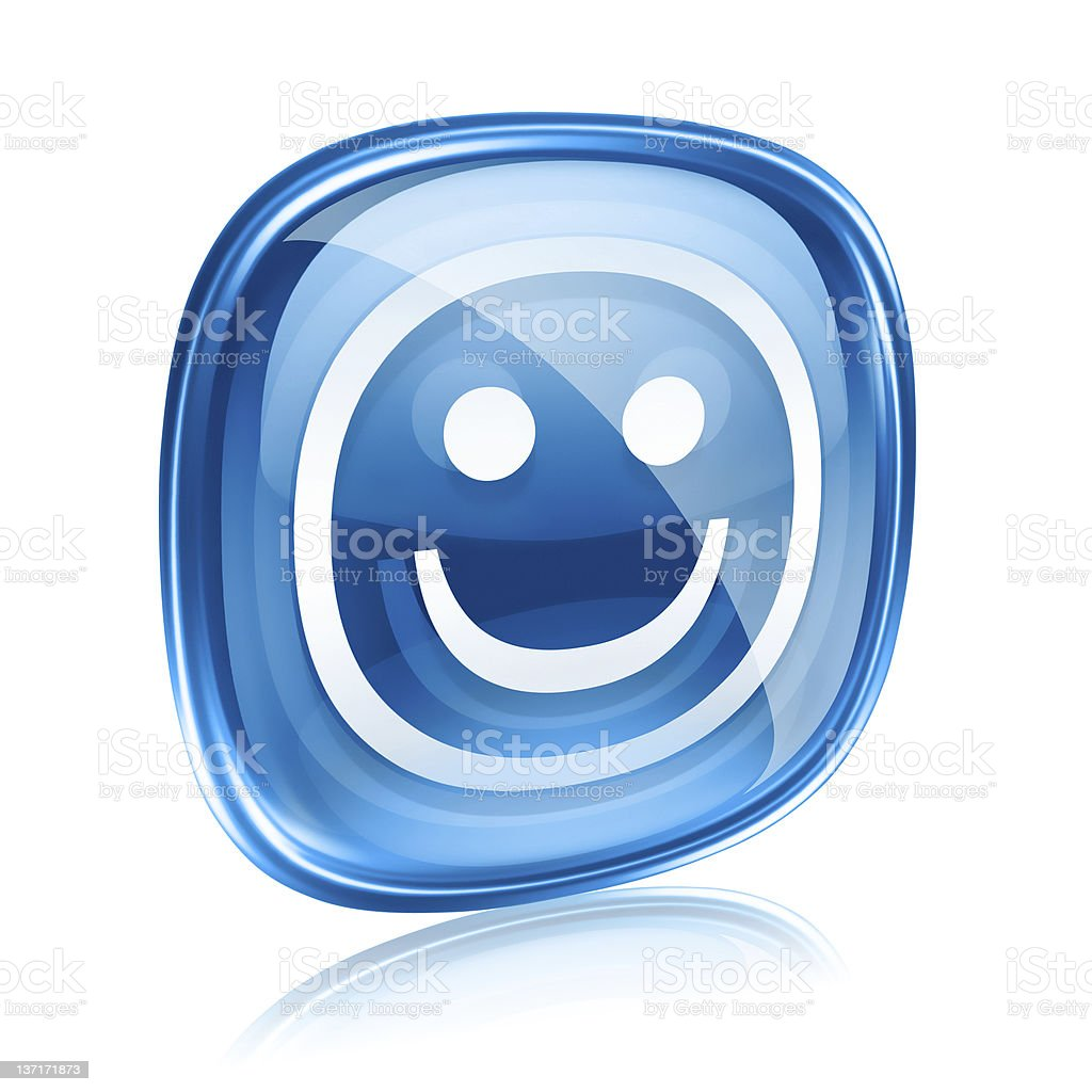 Smiley blue glass, isolated on white background. royalty-free stock vector art