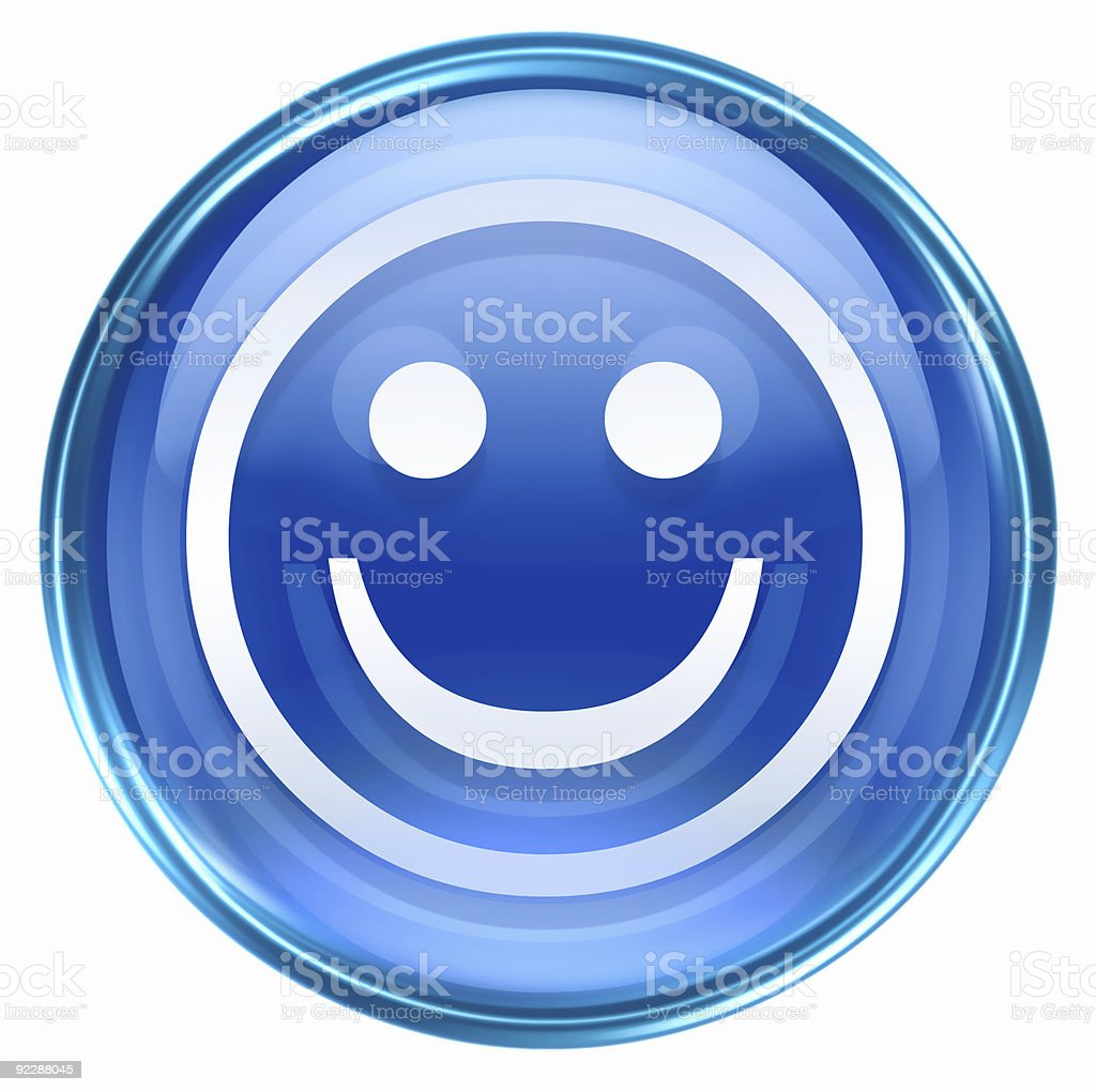 Smiley Face blue, isolated on white background. royalty-free stock vector art