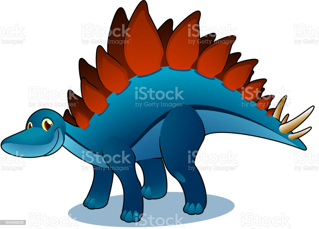 Smiling blue and brown side posture Stegosaurus royalty-free stock vector art