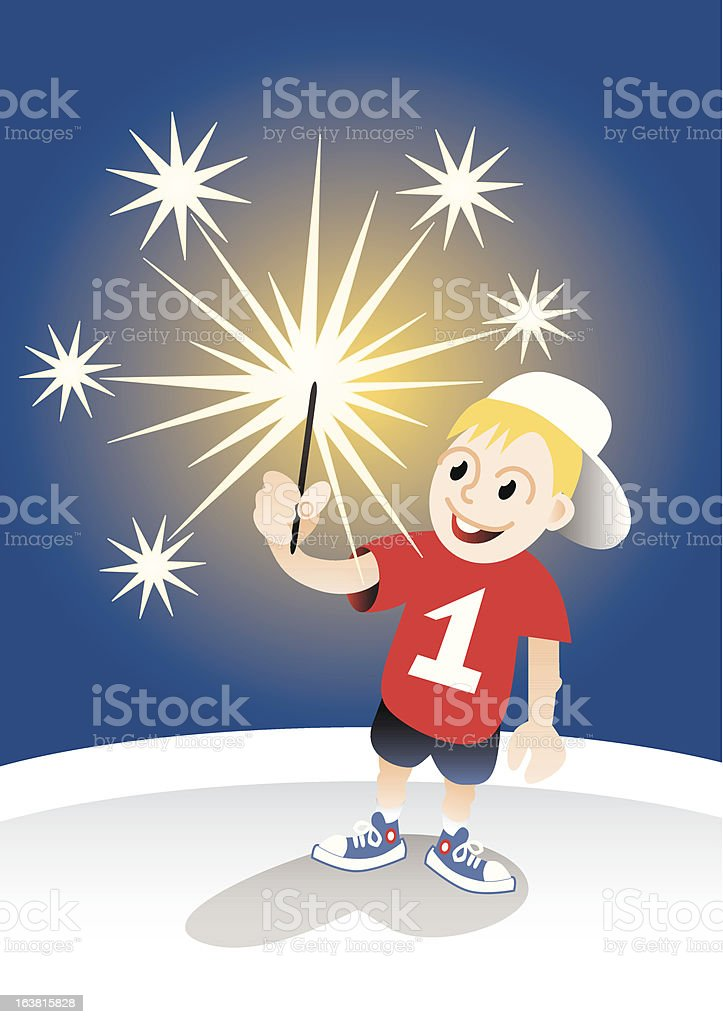 smiling boy with sparkler royalty-free stock vector art