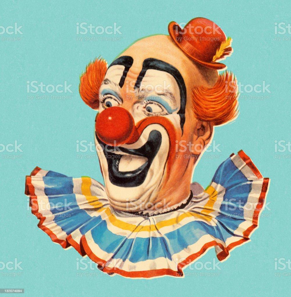 Smiling Clown Head Shot vector art illustration