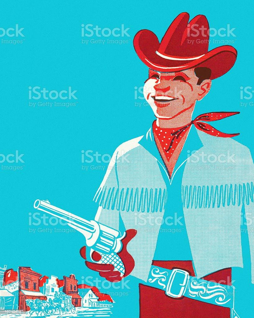 Smiling Cowboy Holding Gun vector art illustration