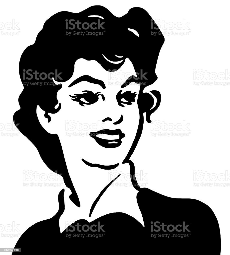 Smiling Dark Haired Lady royalty-free stock vector art