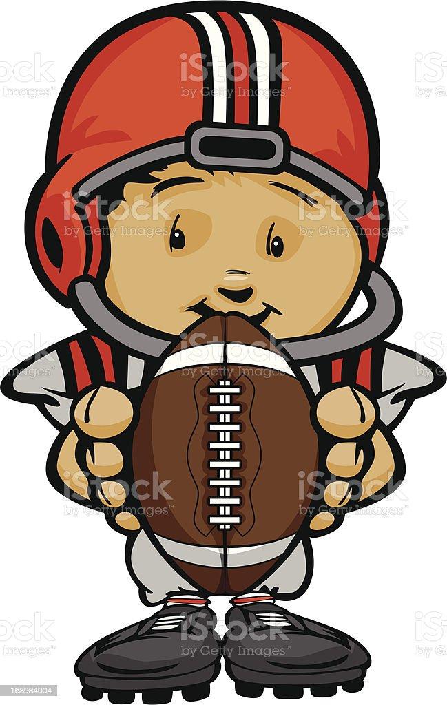 Smiling Football Kid with Helmet holding Ball  Vector Cartoon Illustration royalty-free stock vector art