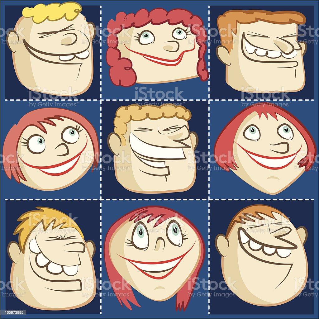smiling hairy head set royalty-free stock vector art