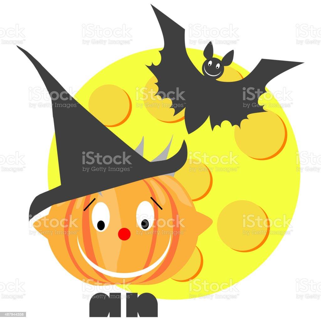 Smiling halloween pumpkin with bat and moon vector art illustration