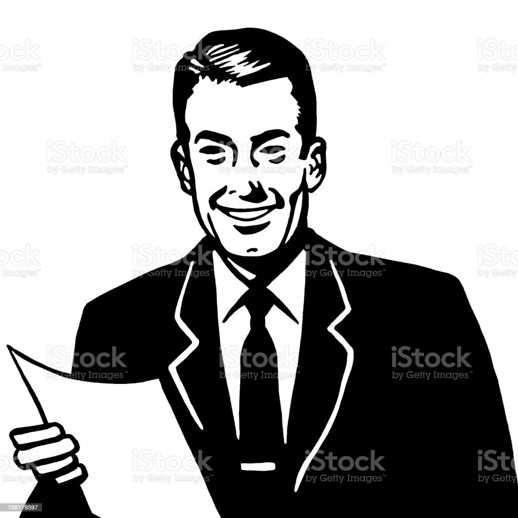 Smiling Man Holding Paper royalty-free stock vector art