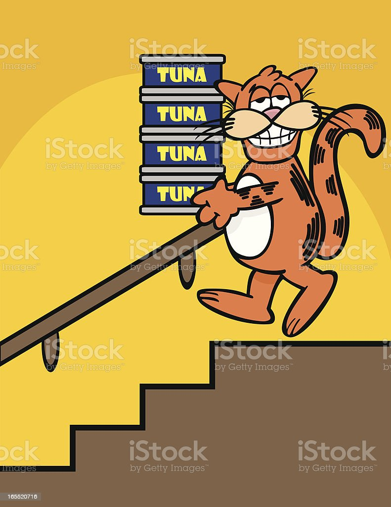 Smiling orange cat carrying cans of tuna down stairs royalty-free stock vector art