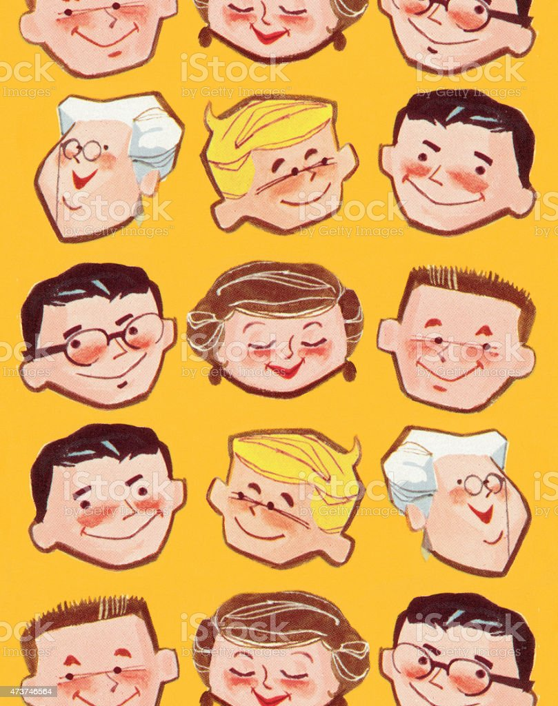 Smiling People Pattern vector art illustration