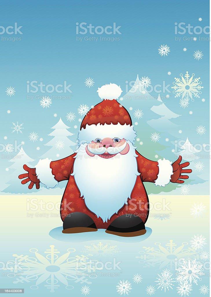 Smiling Santa Claus vector art illustration