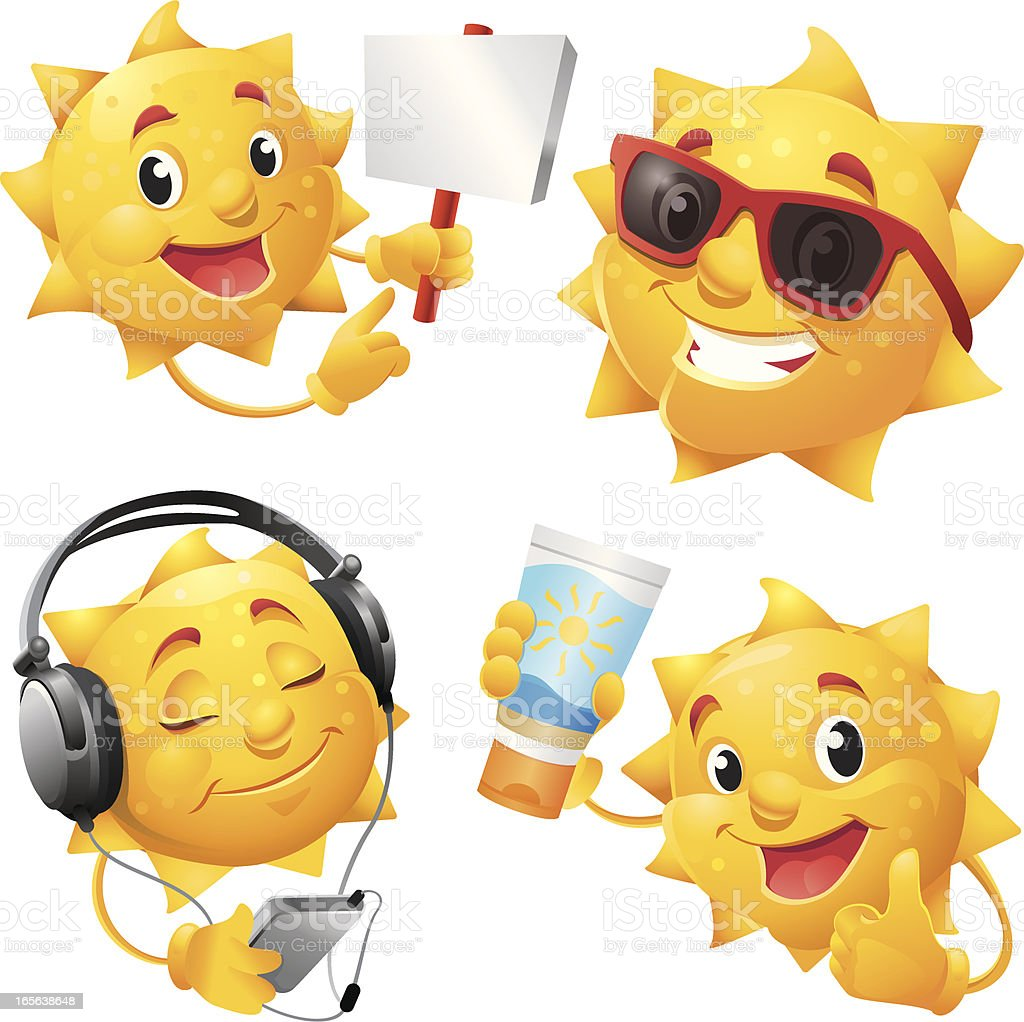 Smiling Summer Sun Cartoon Character with cool Sunglasses royalty-free stock vector art