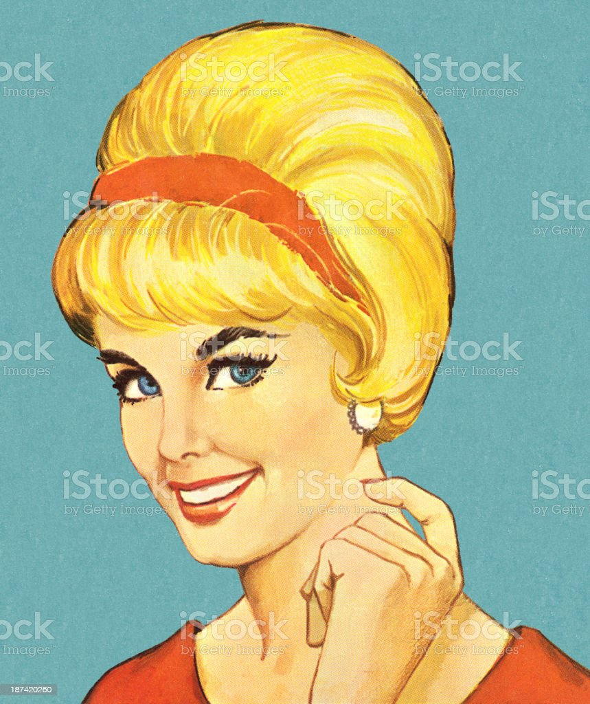 Smiling Woman With Bouffant Hairstyle vector art illustration