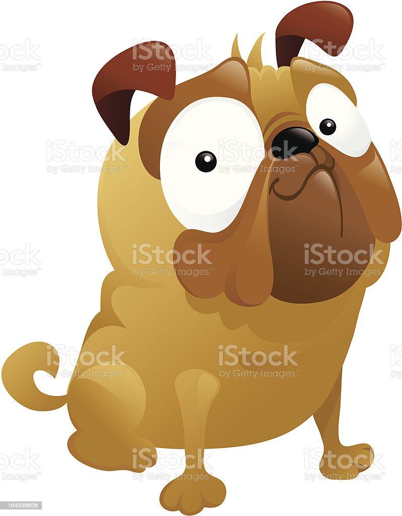 Smirking Pug Dog Carton royalty-free stock vector art
