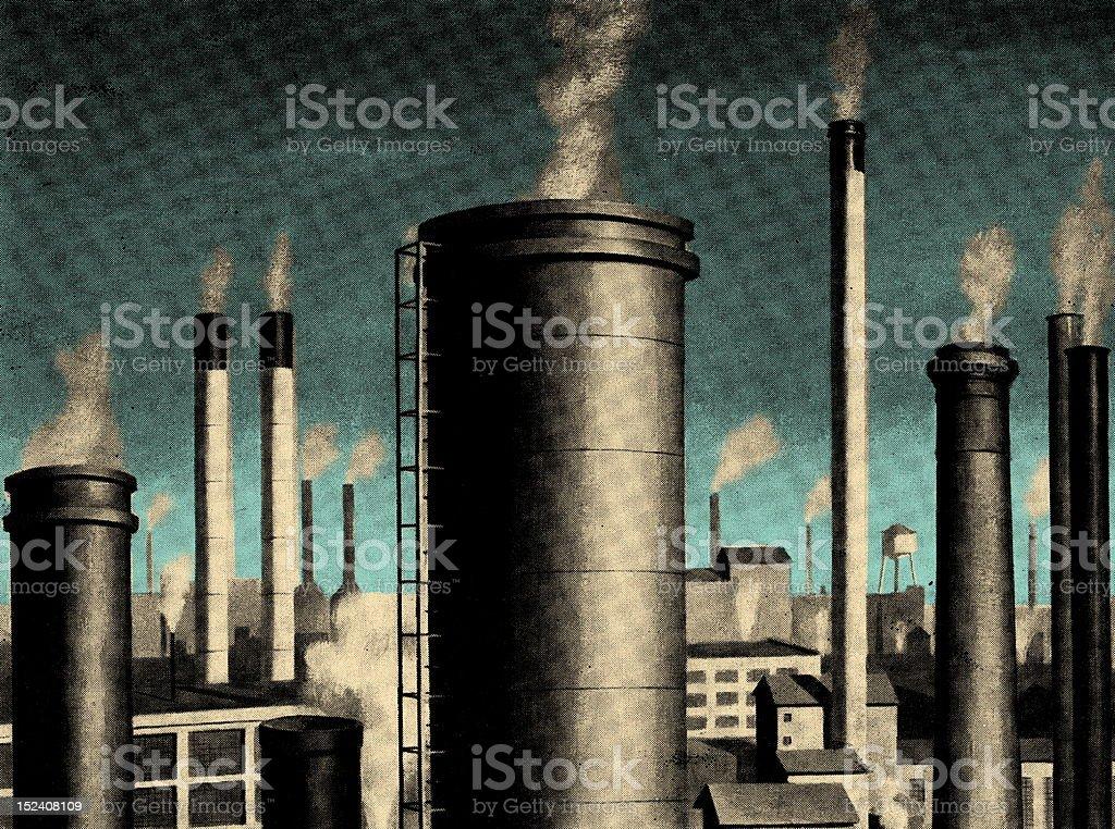 Smoke Stacks royalty-free stock vector art