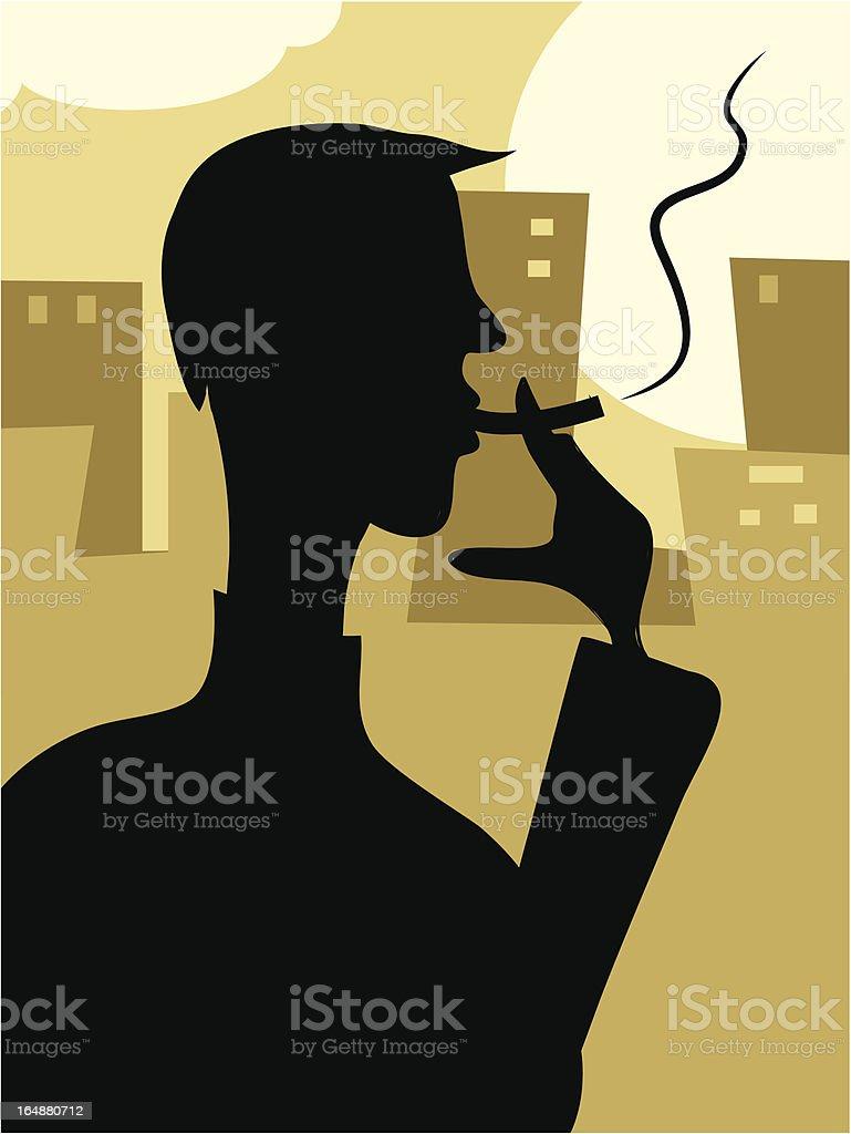 Smoker Silhouette royalty-free stock vector art