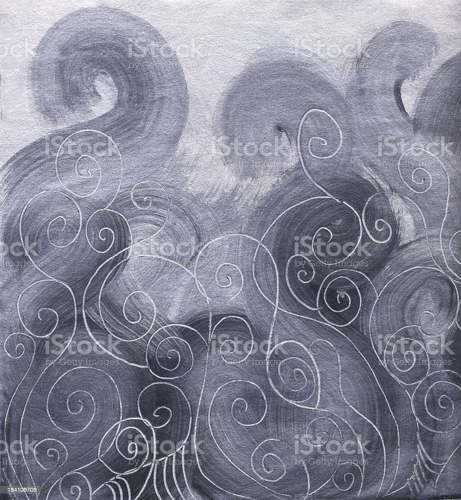 Smoky Silver Swirls vector art illustration