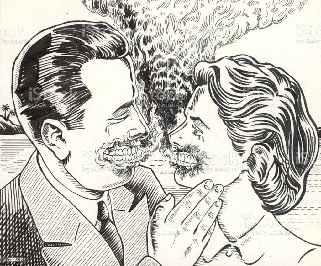 smouldering kiss vector art illustration