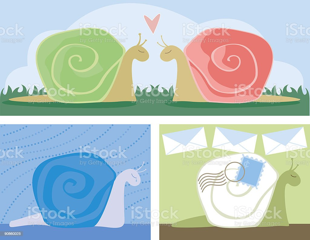 Snail Scenes royalty-free stock vector art