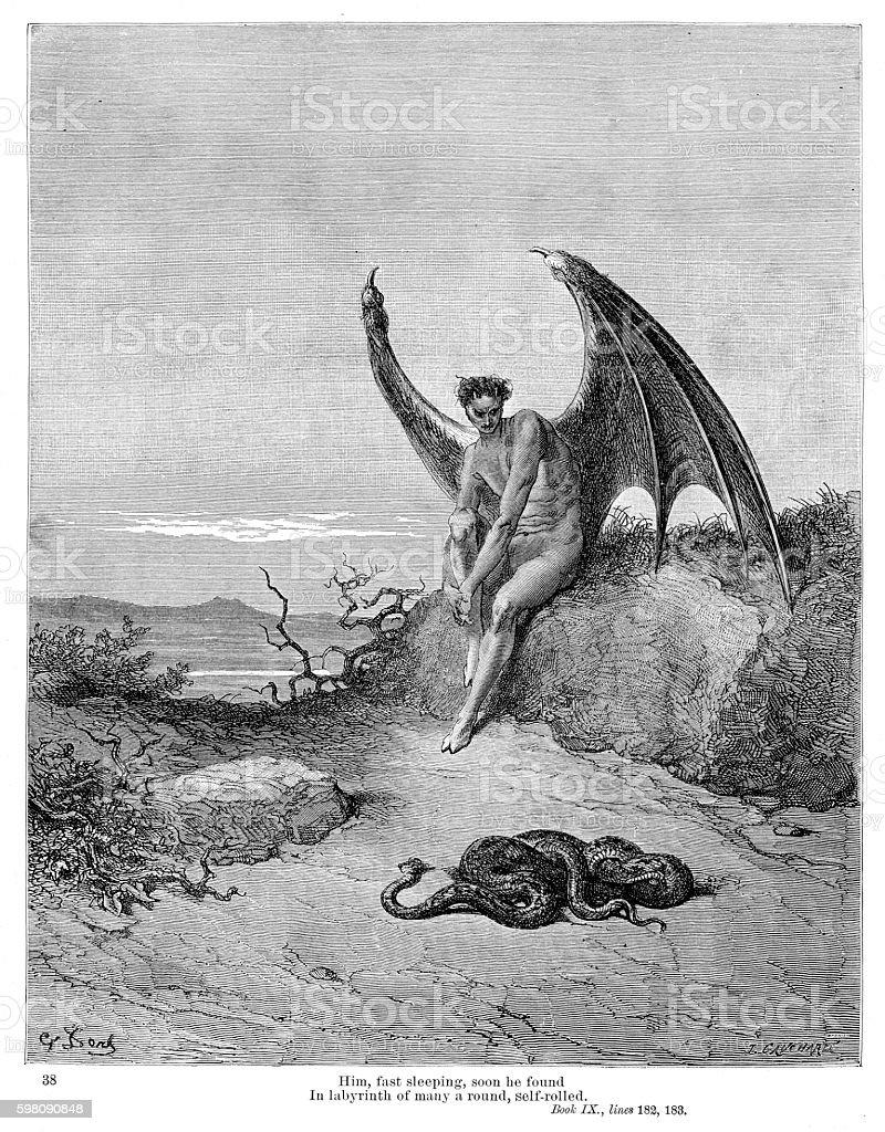 Snake and Evil 1885 vector art illustration