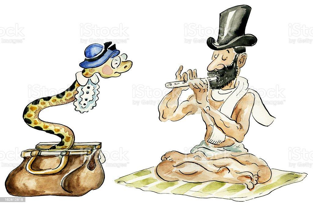 Snake charmer comic illustration vector art illustration