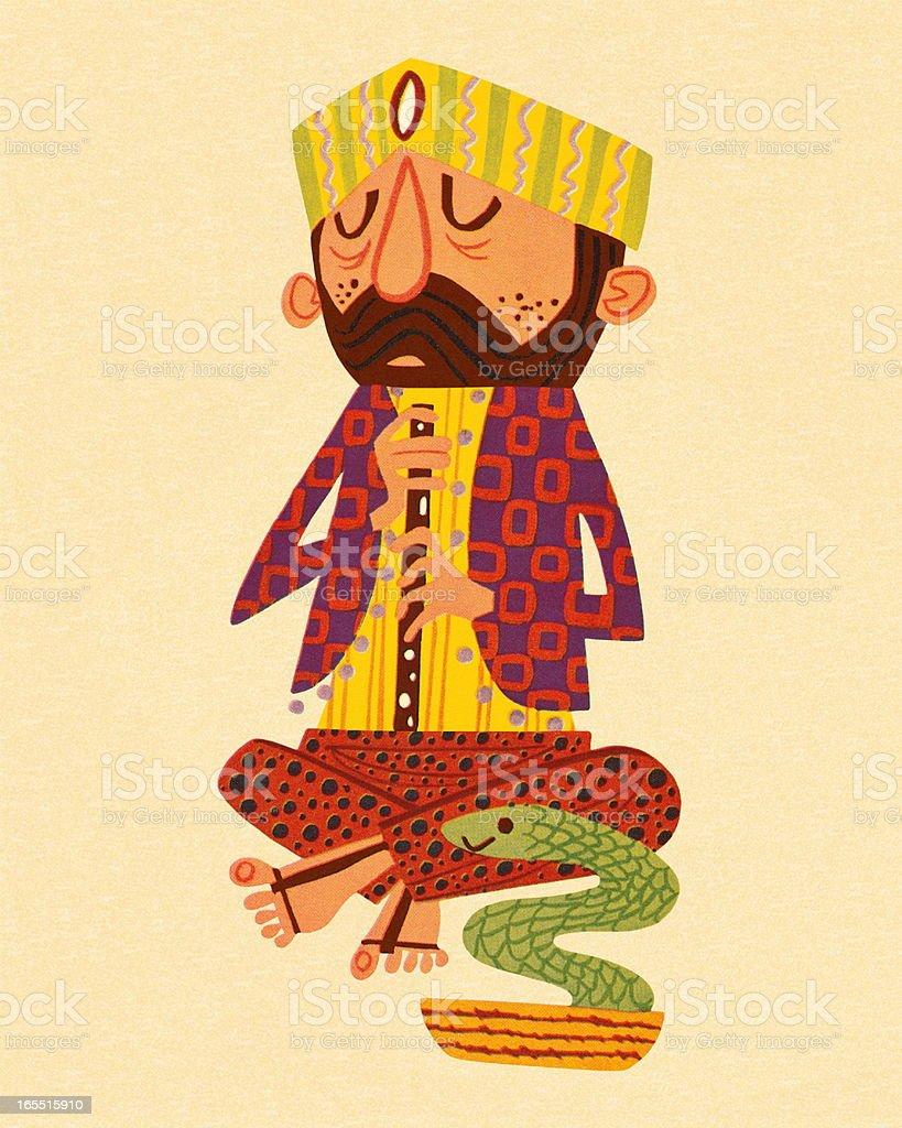 Snake Charmer vector art illustration