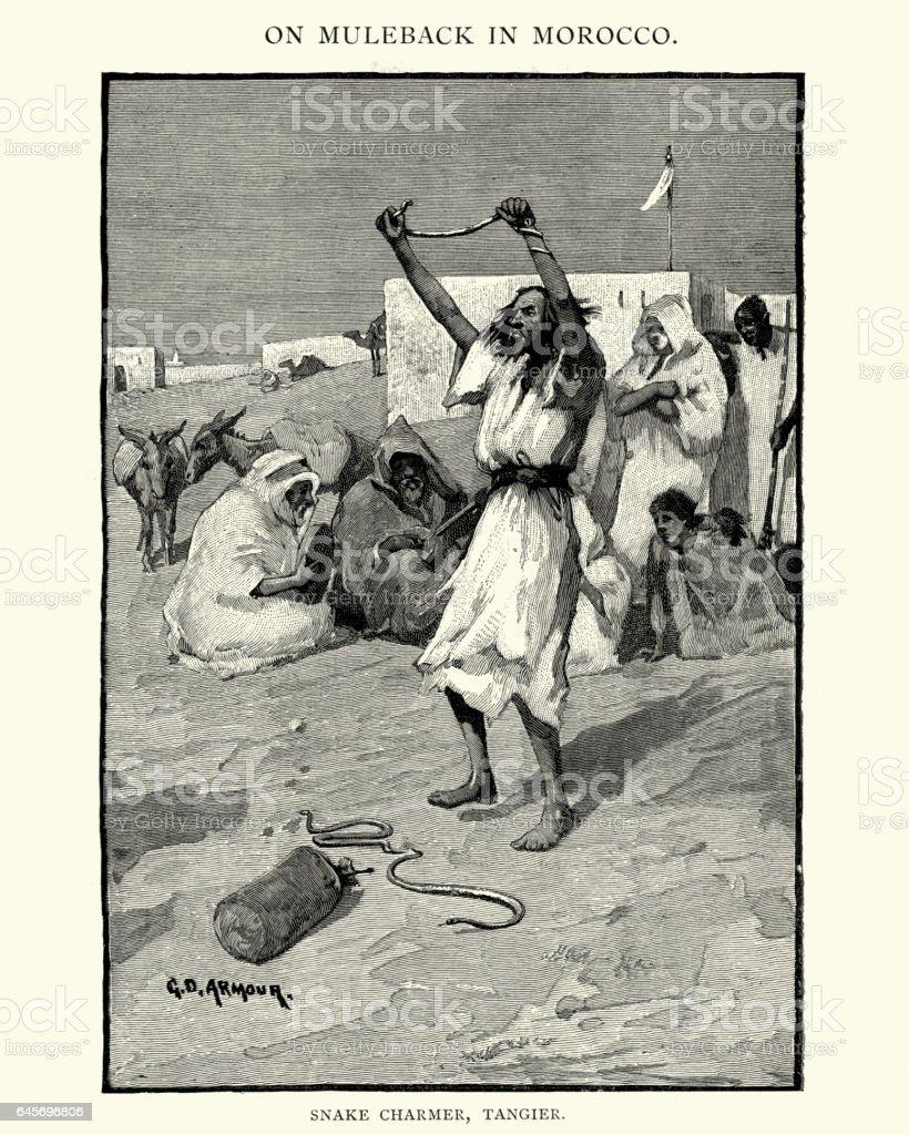 Snake charmer of Tangier, 19th Century vector art illustration