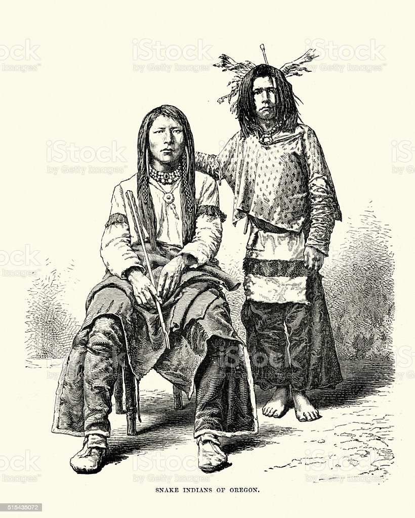 Snake Indians, 19th Century vector art illustration