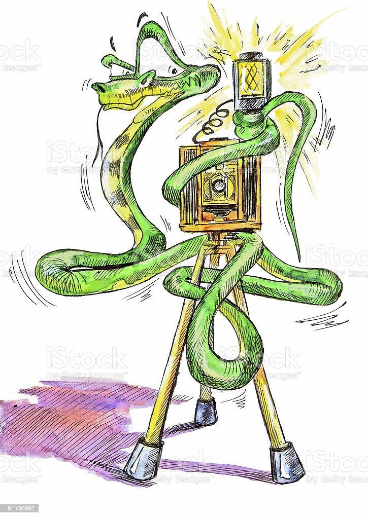 Snake photographer watercolor art royalty-free stock vector art