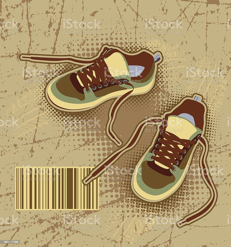 sneakers on grunge background royalty-free stock vector art