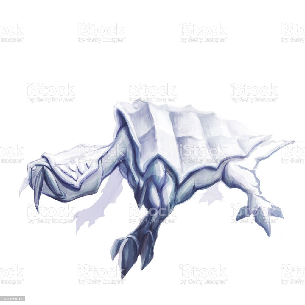 Sneaky mythical reptile concept art vector art illustration