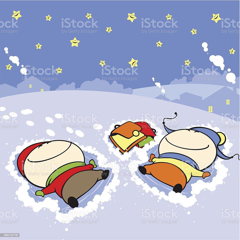 Snow angels vector art illustration