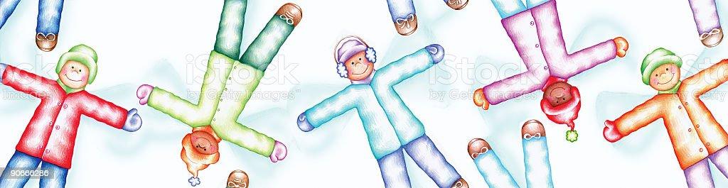 Snow Angels (Vertically Seamless Pattern) vector art illustration