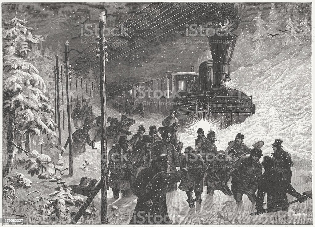 Snow blocked a train in winter, wood engraving, published in 1883 royalty-free stock vector art