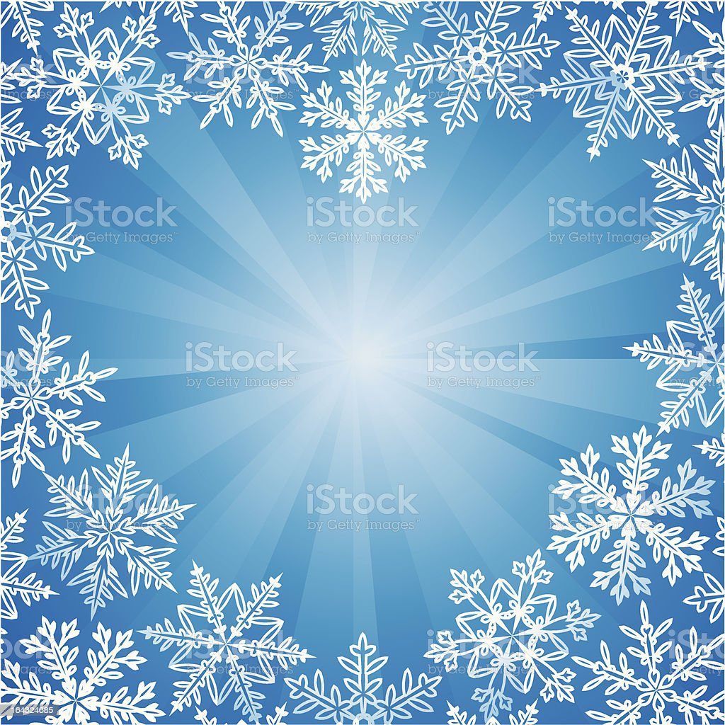 Snow frame in the shape of heart royalty-free stock vector art