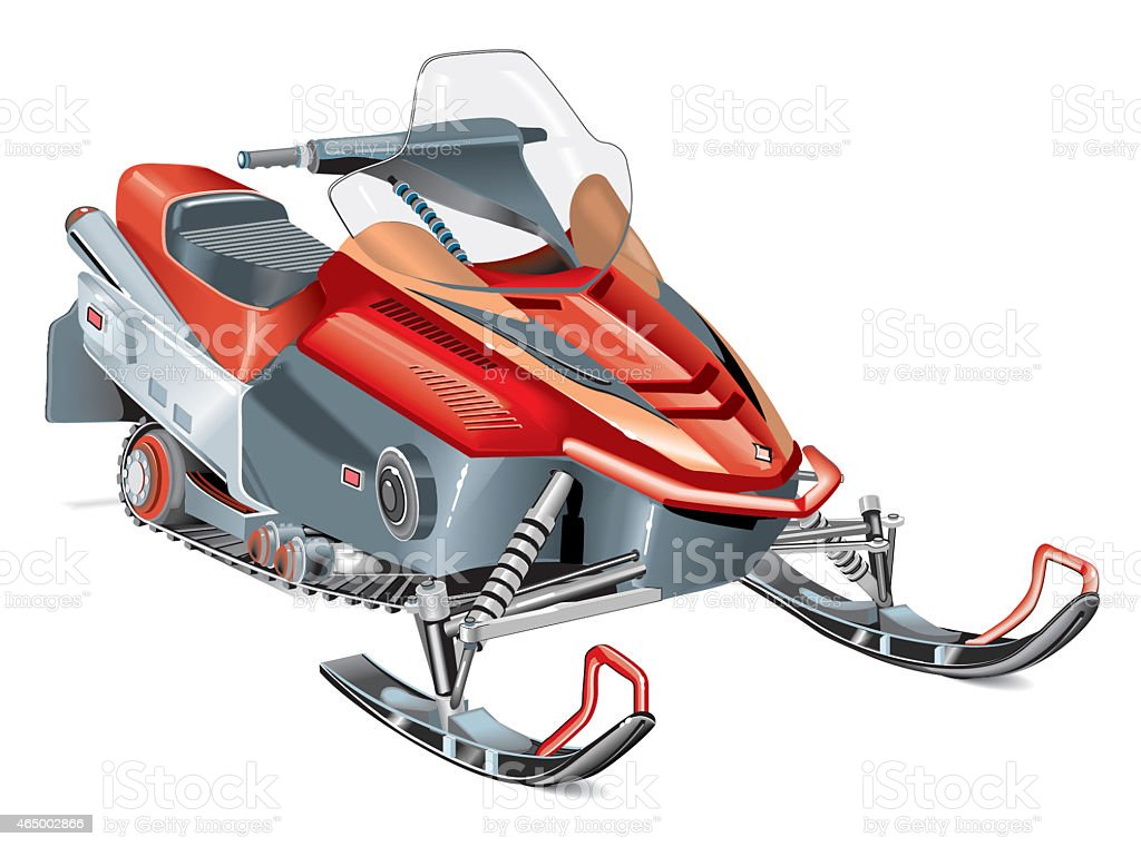 snow mobile_color vector art illustration