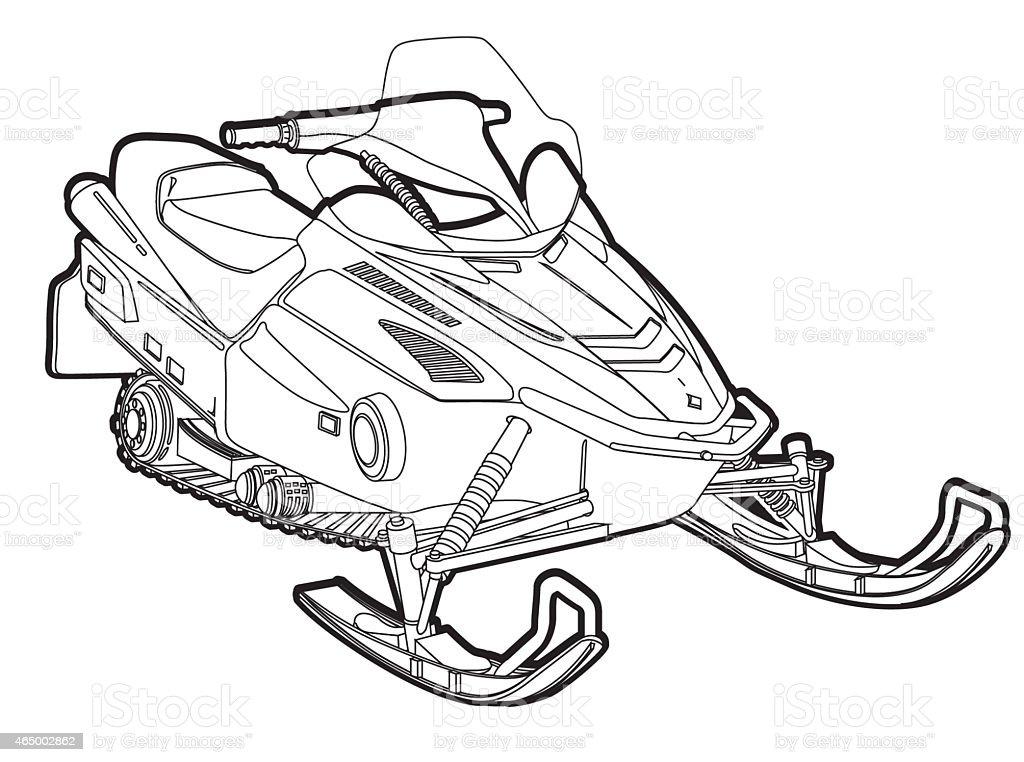 snow mobile_line vector art illustration