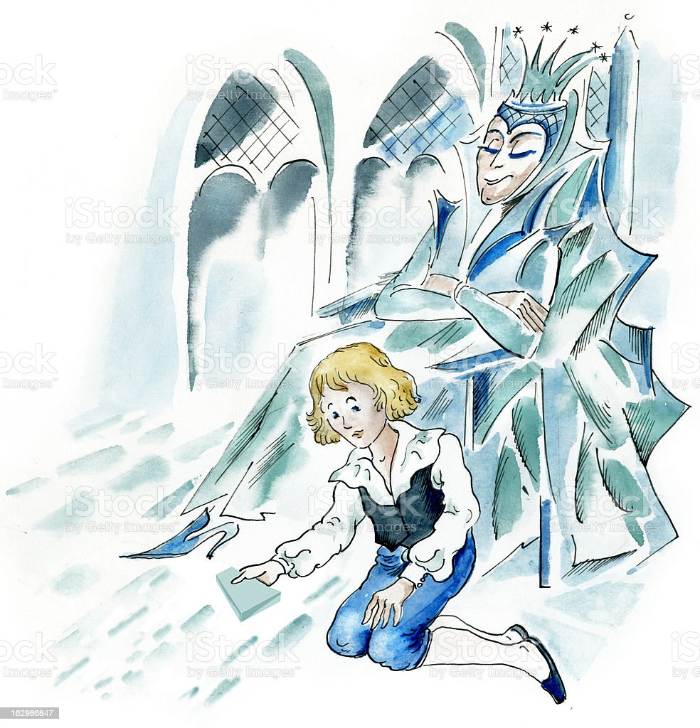 Snow Queen and little boy vector art illustration