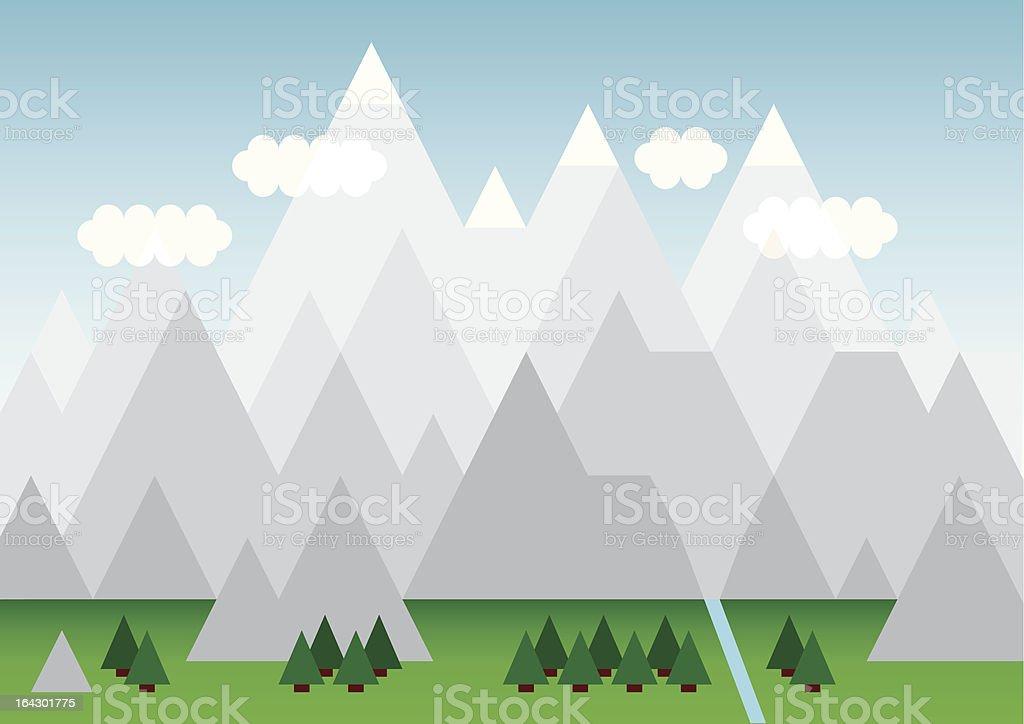 Snow topped mountain range royalty-free stock vector art