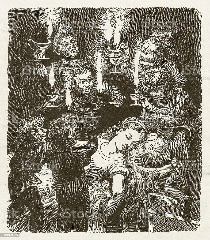 Snow White and the Seven Dwarfs, wood engraving, published 1873 royalty-free stock vector art