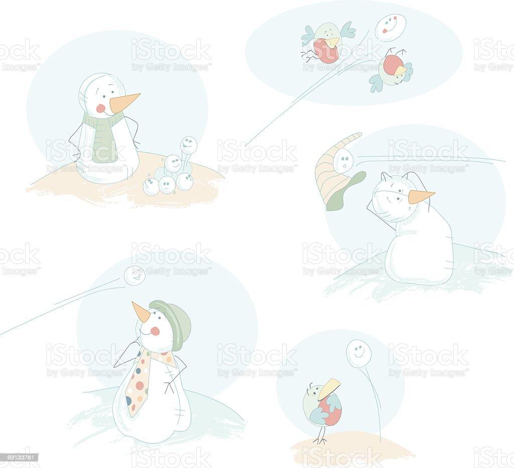 Snowball Antics royalty-free stock vector art