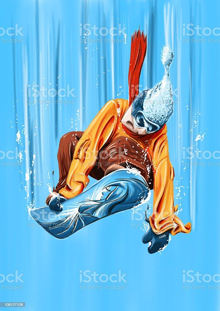 snowboard jump down royalty-free stock vector art