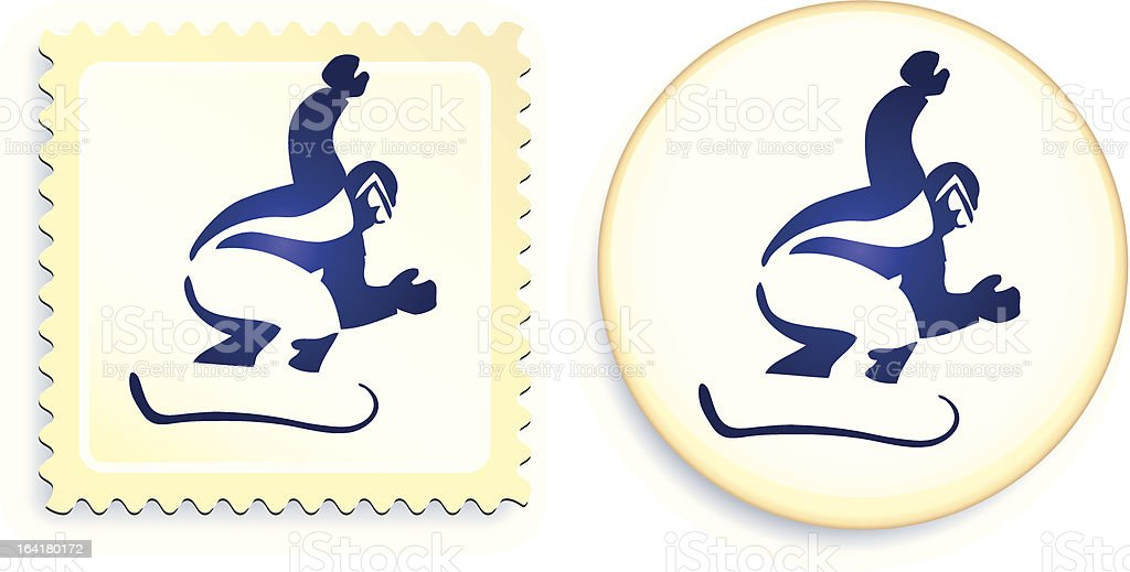 Snowboarder stamp and button royalty-free stock vector art